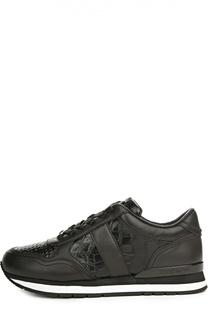 Кожаные кроссовки на рифленой подошве DKNY