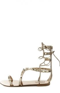 Кожаные сандалии Rockstud на шнуровке Valentino