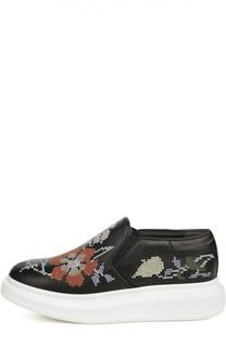 Кожаные слипоны с вышивкой Alexander McQueen