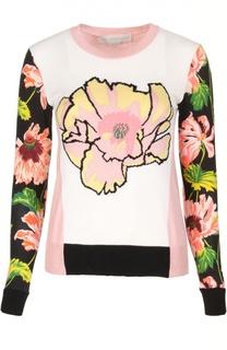 Шерстяной пуловер с контрастными рукавами и принтом Stella McCartney