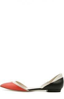 Кожаные балетки с зауженным мысом Giorgio Armani