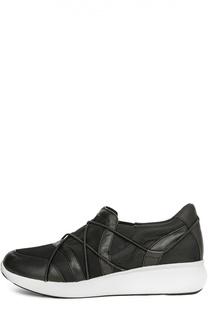 Комбинированные кроссовки с декором DKNY