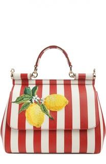 Полосатая кожаная сумка Sicily с вышивкой Dolce & Gabbana