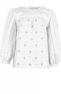 Хлопковая блуза с укороченным рукавом и перфорацией Marc Jacobs