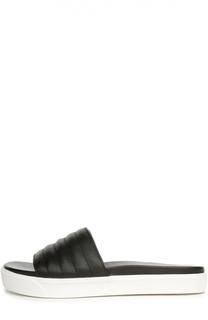 Стеганые кожаные шлепанцы DKNY