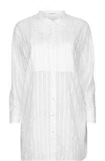 Удлиненная полупрозрачная блуза в полоску с воротником-стойкой Saint Laurent