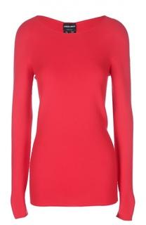 Удлиненный приталенный пуловер с рельефной отделкой Giorgio Armani