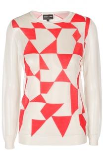 Вязаный полупрозрачный пуловер с контрастным принтом Giorgio Armani