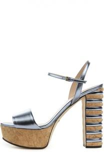 Кожаные босоножки Claudie Cork на устойчивом каблуке Gucci