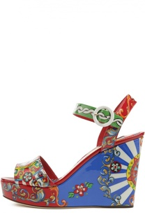 Босоножки на танкетке с принтом Carretto Siciliano Dolce & Gabbana