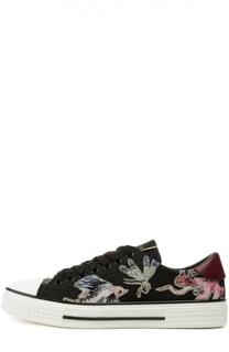 Кожаные кеды Animali Fantastici с вышивкой Valentino
