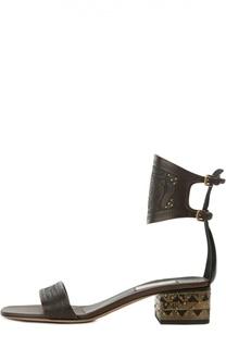Кожаные босоножки Primitive с декором Valentino