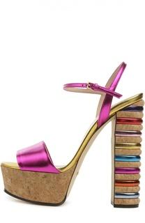 Босоножки Claudie Cork с цветными вставками Gucci