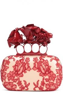 Клатч Knuckle Box Clutch с кружевом и розами Alexander McQueen