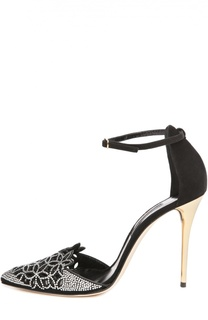 Замшевые туфли с кристаллами Oscar de la Renta