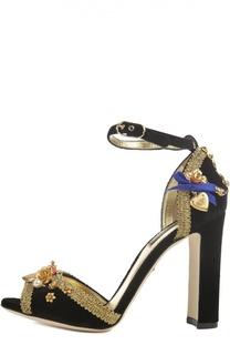 Бархатные босоножки Keira с декором Dolce & Gabbana