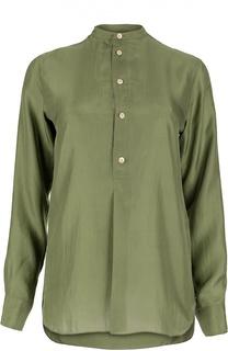 Шелковая блуза с воротником-стойкой и удлиненной спинкой Polo Ralph Lauren