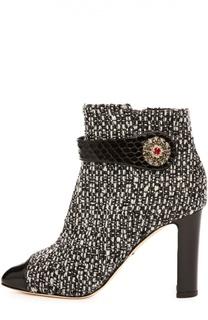 Ботильоны Jackie из фактурной шерсти Dolce & Gabbana