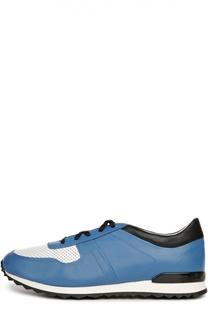Кожаные кроссовки со вставками Kiton