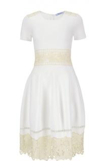 Приталенное платье-миди с кружевной отделкой Blumarine