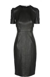 Приталенное кожаное платье с декоративными складками Givenchy