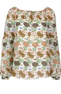 Шелковая блуза с вырезом лодочка Tory Burch