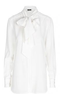 Шелковая блуза прямого кроя с бантом Kiton