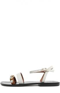 Кожаные сандалии с кристаллами Swarovski Marni