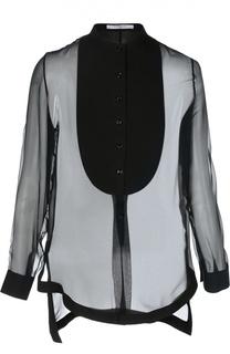 Шелковая полупрозрачная блуза с удлиненной спинкой Givenchy