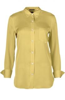 Прямая шелковая блуза с накладным карманом Theory