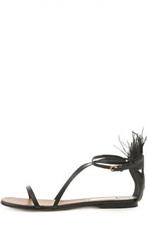 Кожаные сандалии Tribe с перьями Valentino