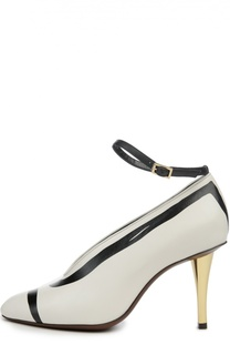 Кожаные туфли с ремешком на щиколотке Lanvin