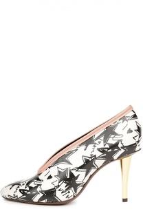 Кожаные туфли с принтом на шпильке Lanvin