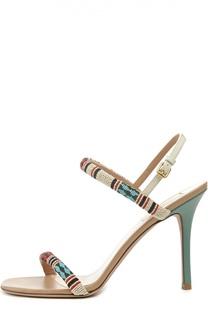 Босоножки Glam Tride с бисером на шпильке Valentino