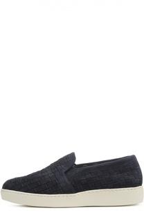 Замшевые слипоны с плетением Santoni