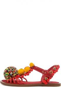 Плетеные сандалии с декором Dolce & Gabbana