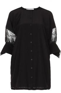 Удлиненная блуза с укороченным рукавом и кружевной вставкой Givenchy