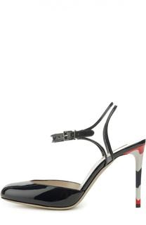 Лаковые туфли с ремешком на щиколотке Giorgio Armani