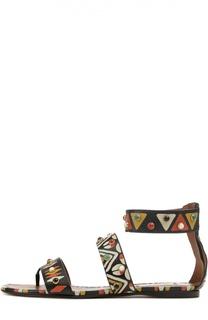 Кожаные сандалии Primitive Print с декором Valentino