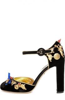 Бархатные туфли Vally с декором Dolce & Gabbana