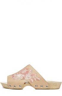 Кожаные сабо с вышивкой Alexander McQueen