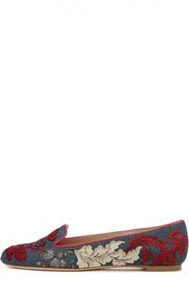 Джинсовые лоферы с вышивкой Alexander McQueen