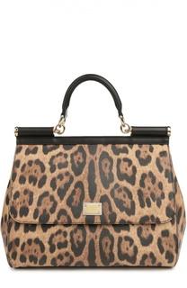 Сумка Sicily large с леопардовым принтом Dolce & Gabbana