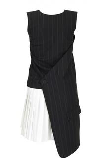 Хлопковое мини-платье с асимметричным низом DKNY