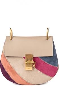 Кожаная сумка Drew с отделкой из разноцветной замши Chloé