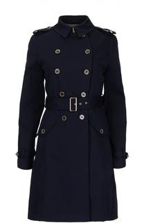 Приталенное двубортное пальто с поясом Fay