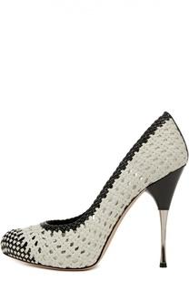 Плетеные туфли на шпильке Alexander McQueen
