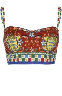 Топ-бюстье на бретельках и ярким принтом Dolce & Gabbana
