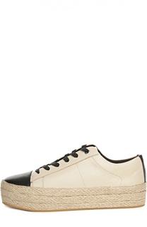 Кожаные ботинки на джутовой подошве DKNY
