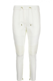 Укороченные брюки с эластичным поясом и декоративными молниями Balmain